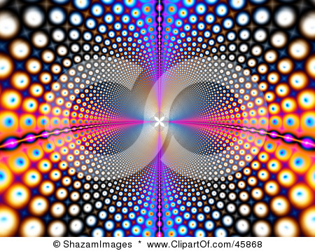 45868-Royalty-Free-RF-Clipart-Illustration-Of-A-Psychedelic-Funky-Background-Of-Colorful-Circles-Leading-And-Reflecting-Into-The-Distance